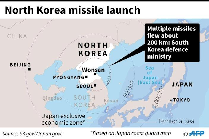The launch Thursday -- the North's fifth weapons test in a month -- was overseen by leader Kim Jong-Un, the State-run Korean Central News Agency reported, and came less than a week after the United Nations tightened sanctions against the Stalinist regime. (AFP Photo/AFP )