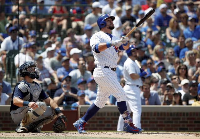 Kyle Schwarber took out a piece of Wrigley Field with a batting practice home run. (AP Photo)