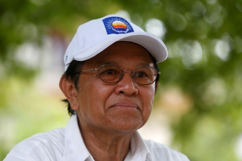 FILE PHOTO - Cambodia's opposition leader and President of the CNRP Kem Sokha talks during an interview with Reuters in Prey Veng