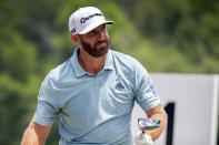 Dustin Johnson watches his shot off the first tee during the third round of the Palmetto Championship golf tournament in Ridgeland, S.C., Saturday, June 12, 2021. (AP Photo/Stephen B. Morton)