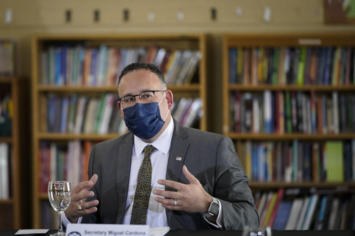 NEW HAVEN, CT - MARCH 26: Secretary of Education Miguel Cardona speaks during a roundtable session about reducing childhood poverty with Vice President Kamala Harris at the Boys and Girls Club of New Haven on March 26, 2021 in New Haven, Connecticut. Harris is traveling to New Haven, Connecticut to promote the Biden administration's recently passed $1.9 billion federal stimulus package. (Photo by Drew Angerer/Getty Images)