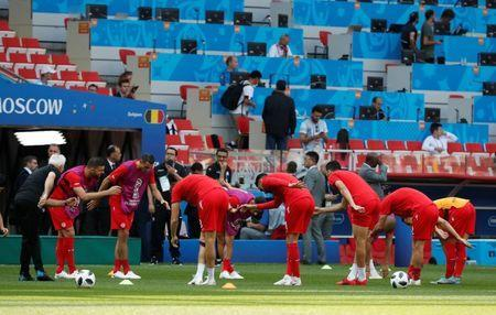 Soccer Football - World Cup - Group G - Belgium vs Tunisia - Spartak Stadium, Moscow, Russia - June 23, 2018 Tunisia players during the warm up before the match REUTERS/Grigory Dukor