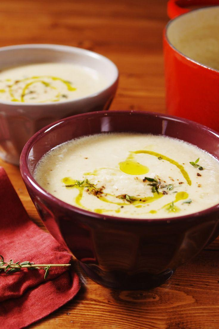 """<p>Minimal ingredients, and TONS of flavor. </p><p>Get the recipe from <a href=""""https://www.delish.com/cooking/recipe-ideas/a23514357/best-cauliflower-soup-recipe/"""" rel=""""nofollow noopener"""" target=""""_blank"""" data-ylk=""""slk:Delish"""" class=""""link rapid-noclick-resp"""">Delish</a>. </p>"""