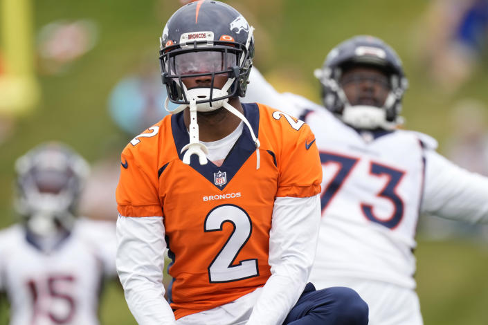FILE - In this Aug. 19, 2021, file photo, Denver Broncos cornerback Pat Surtain II takes part in drills during an NFL football training camp at the team's headquarters in Englewood, Colo. Surtain II's first NFL start comes against a familiar foe: Jaguars rookie QB Trevor Lawrence, whose Clemson Tigers walloped his top-ranked Alabama Crimson Tide in the national championship three years ago. (AP Photo/David Zalubowski, File)