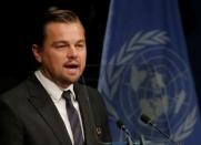 FILE PHOTO: Actor DiCaprio delivers his remarks during the Paris Agreement on climate change held at the United Nations Headquarters in Manhattan, New York