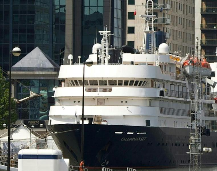 The 4,200-ton Caledonian Sky -- seen here moored at the London Docklands in 2012 -- had to be refloated by a tug boat before continuing with its cruise near Raja Ampat, in eastern Indonesia