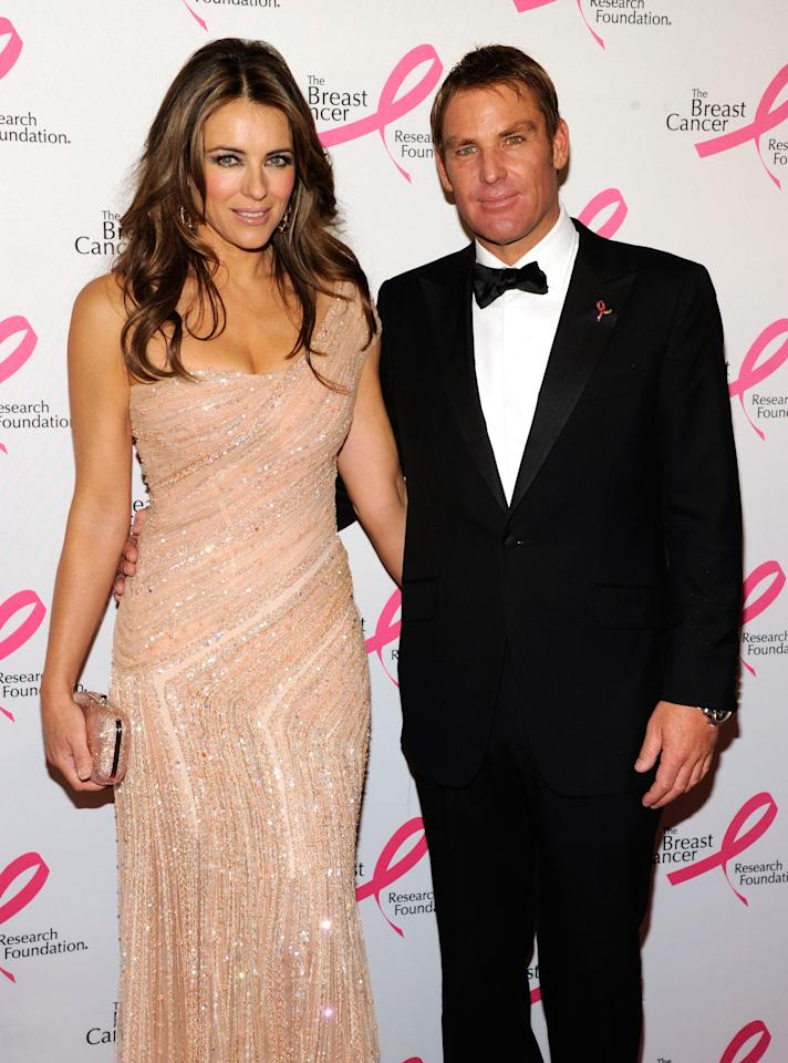 NEW YORK, NY - APRIL 30:  Elizabeth Hurley and Shane Warne attend the Breast Cancer Foundation's Hot Pink Party at Waldorf Astoria Hotel on April 30, 2012 in New York City.  (Photo by Kevin Mazur/WireImage)