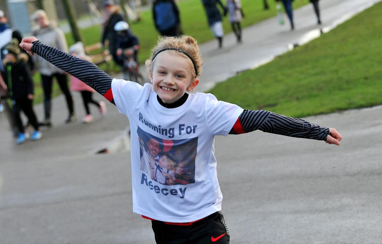 Jordan Banks (9) pictured on January 16, 2021 in Blackpool, celebrating running over 30 miles in 10 days to celebrate what would have been the 30th birthday of his uncle Reece Begg, who killed himself two years ago.  See SWNS story SWLElightning.  Tributes have been paid to a nine-year-old boy who died after being struck by lightning during a football coaching session.  The child, who has been named locally as Jordan Banks, was injured when a thunderstorm hit as he was on a playing field in Blackpool on Tuesday evening.  Flowers and messages of condolence have been left at the scene.  Jordan played for Clifton Rangers Junior Football Club, who described him as