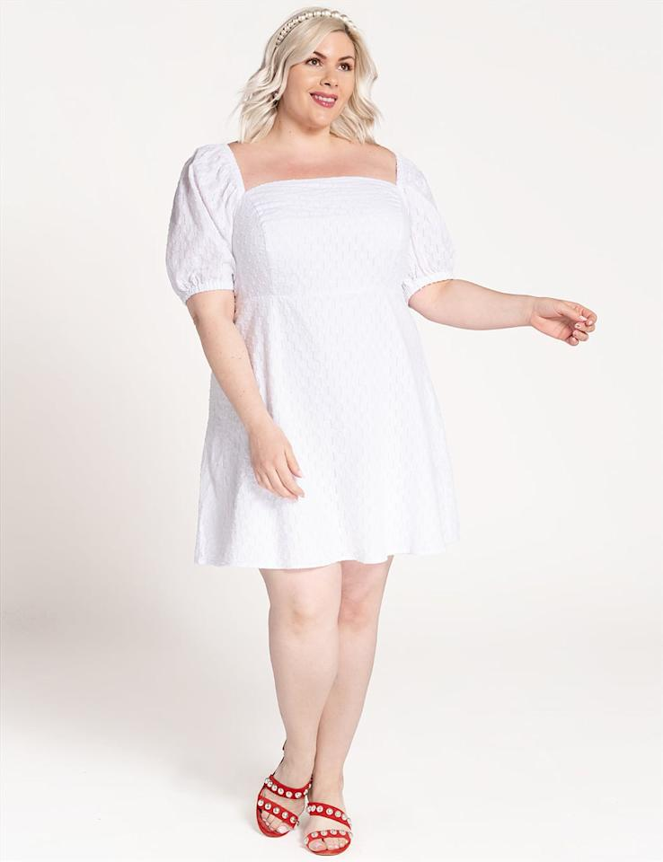 "<p>This <a href=""https://www.popsugar.com/buy/ELOQUII-Puff-Sleeve-Dress-577706?p_name=ELOQUII%20Puff-Sleeve%20Dress&retailer=eloquii.com&pid=577706&price=110&evar1=fab%3Aus&evar9=47582274&evar98=https%3A%2F%2Fwww.popsugar.com%2Fphoto-gallery%2F47582274%2Fimage%2F47582284%2FELOQUII-Puff-Sleeve-Dress&list1=shopping%2Cdresses%2Csummer%2Cfashion%20shopping&prop13=api&pdata=1"" rel=""nofollow"" data-shoppable-link=""1"" target=""_blank"" class=""ga-track"" data-ga-category=""Related"" data-ga-label=""https://www.eloquii.com/puff-sleeve-square-neck-dress/1237210.html?dwvar_1237210_colorCode=1"" data-ga-action=""In-Line Links"">ELOQUII Puff-Sleeve Dress</a> ($110) is very on-trend right now.</p>"