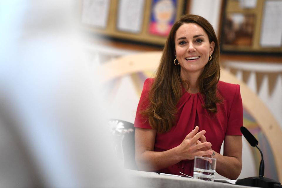 Britain's Catherine, Duchess of Cambridge takes part in a round table discussion during her visit to Connor Downs Academy in Hayle, Cornwall on the sidelines of the G7 summit on June 11, 2021. (Photo by DANIEL LEAL-OLIVAS / POOL / AFP) (Photo by DANIEL LEAL-OLIVAS/POOL/AFP via Getty Images)