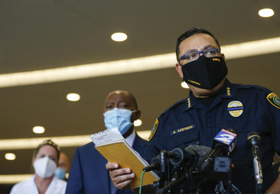 Houston Police chief Art Acevedo talks to reporters about the death of Sgt. Harold Preston, at Memorial Hermann Hospital on Tuesday, Oct. 20, 2020, in Houston. Two officers were shot by a suspect during a domestic violence call at an apartment complex. (Godofredo A. Vásquez/Houston Chronicle via AP)