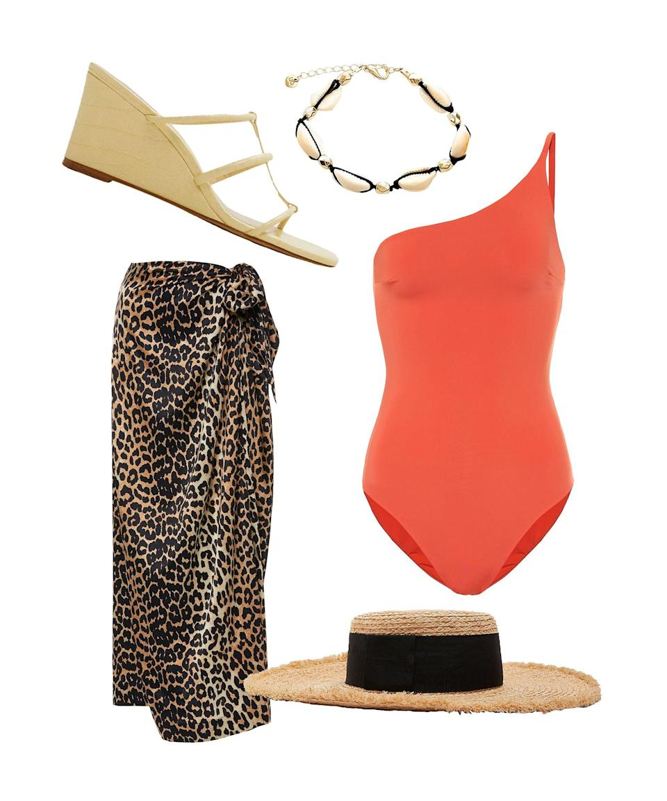"""<p>If this outfit doesn't make you head to Skyscanner immediately to peruse some last-minute flights then we don't know what will. We'll set the scene: you're at the coast, you've been by the pool all day and now you want pasta. Wrap around your leopard Ganni skirt, pop on the sun-shading Zara hat, and add flourishes via Mango's strappy wedges and a shell anklet.</p><br><br><strong>Haight</strong> One-Shoulder Swimsuit, $190, available at <a href=""""https://www.mytheresa.com/en-gb/haight-one-shoulder-swimsuit-1234971.html"""" rel=""""nofollow noopener"""" target=""""_blank"""" data-ylk=""""slk:mytheresa"""" class=""""link rapid-noclick-resp"""">mytheresa</a><br><br><strong>Ganni</strong> Leopard-Print Satin Midi Skirt, $291, available at <a href=""""https://www.modaoperandi.com/ganni-pf19/leopard-print-silk-blend-satin-midi-skirt"""" rel=""""nofollow noopener"""" target=""""_blank"""" data-ylk=""""slk:Moda Operandi"""" class=""""link rapid-noclick-resp"""">Moda Operandi</a><br><br><strong>Zara</strong> Raffia Hat, $19.99, available at <a href=""""https://www.zara.com/uk/en/raffia-hat-with-ribbon-p00653006.html?v1=8127564&v2=1180354"""" rel=""""nofollow noopener"""" target=""""_blank"""" data-ylk=""""slk:Zara"""" class=""""link rapid-noclick-resp"""">Zara</a><br><br><strong>Urban Outfitters</strong> Shell Anklet, $10, available at <a href=""""https://www.urbanoutfitters.com/en-gb/shop/shell-anklet"""" rel=""""nofollow noopener"""" target=""""_blank"""" data-ylk=""""slk:Urban Outfitters"""" class=""""link rapid-noclick-resp"""">Urban Outfitters</a><br><br><strong>Mango</strong> Strappy Heeled Sandals, $49.99, available at <a href=""""https://shop.mango.com/gb/women/shoes-heeled-sandals/strappy-heeled-sandals_53050961.html"""" rel=""""nofollow noopener"""" target=""""_blank"""" data-ylk=""""slk:Mango"""" class=""""link rapid-noclick-resp"""">Mango</a>"""