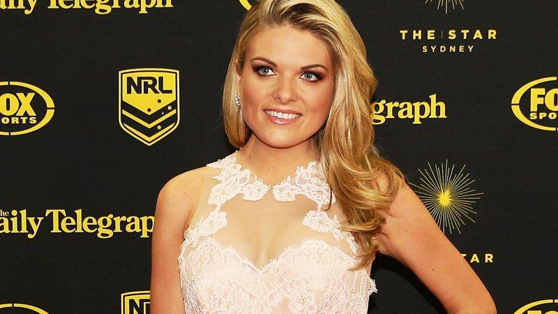 Erin Molan is pictured here posing for photos at a rugby league awards night.