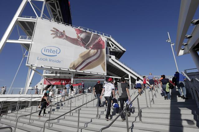 Fans enter the new Levi's Stadium before an MLS soccer match between the San Jose Earthquakes and the Seattle Sounders on Saturday, Aug. 2, 2014, in Santa Clara, Calif. (AP Photo/Marcio Jose Sanchez)