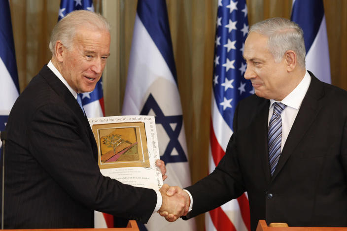 U.S Vice President Joe Biden, left, shakes hand  with Israel's Prime Minister Benjamin Netanyahu at the Prime Minister's residence in Jerusalem, Tuesday, March 9, 2010.  Biden said there is a