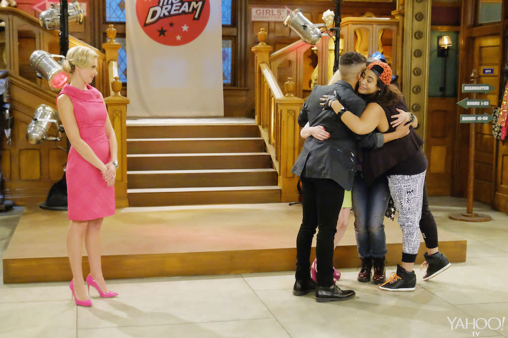 <p>There's nothing like a group hug, but why wasn't guest star Laura Bell Bundy invited to join in? (Credit: Tony Rivetti/Disney Channel) </p>