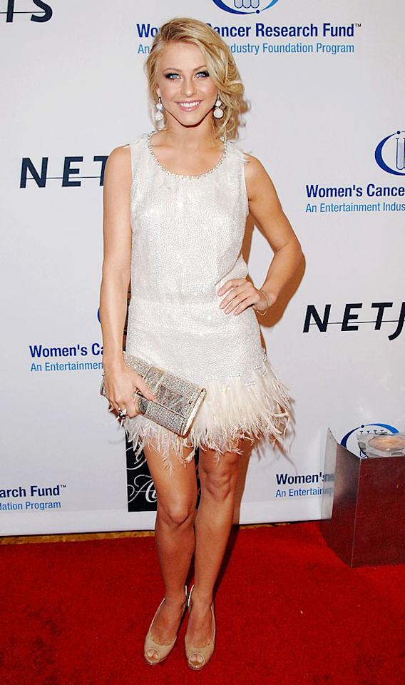"Do you think that feathery frock singer Julianne Hough's wearing looks stylish or like a costume from her ""Dancing With the Stars"" days? Jon Kopaloff/<a href=""http://www.filmmagic.com/"" target=""new"">FilmMagic.com</a> - January 27, 2010"