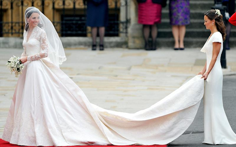 Kate Middleton and sister Pippa on her wedding day in April 2011. - Credit: Pascal Le Segretain/Getty Images