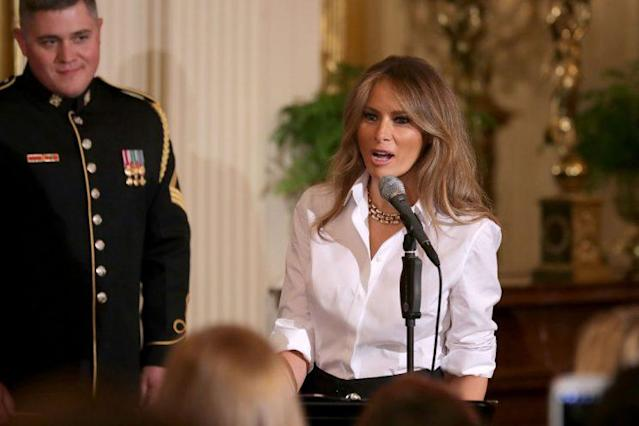 First lady Melania Trump gave a rare speech this week ahead of Mother's Day. (Photo: Getty Images)
