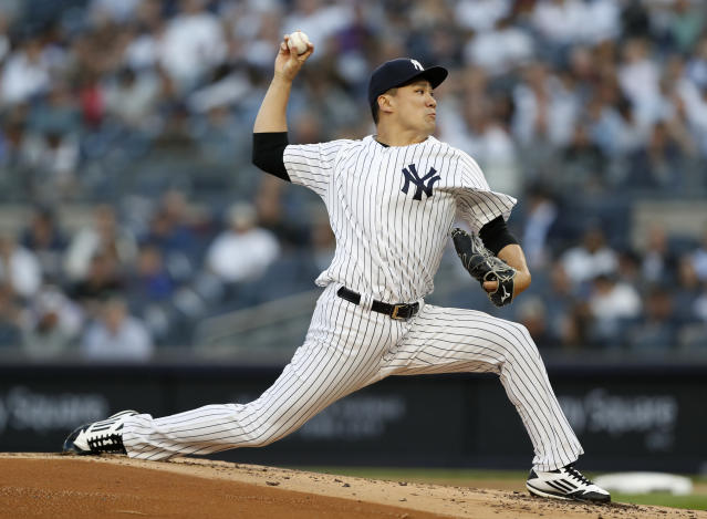 "<a class=""link rapid-noclick-resp"" href=""/mlb/teams/nyy"" data-ylk=""slk:New York Yankees"">New York Yankees</a> starting pitcher <a class=""link rapid-noclick-resp"" href=""/mlb/players/9642/"" data-ylk=""slk:Masahiro Tanaka"">Masahiro Tanaka</a> is a buy-low opportunity in fantasy leagues. (AP Photo/Kathy Willens)"