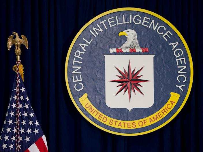 The seal of the Central Intelligence Agency at CIA headquarters in Langley, Virginia, on April 13, 2016.