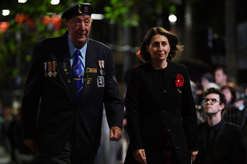 NSW Premier Gladys Berejiklian arrives for the Anzac Day Dawn Service at The Cenotaph in Sydney. Source: AAP
