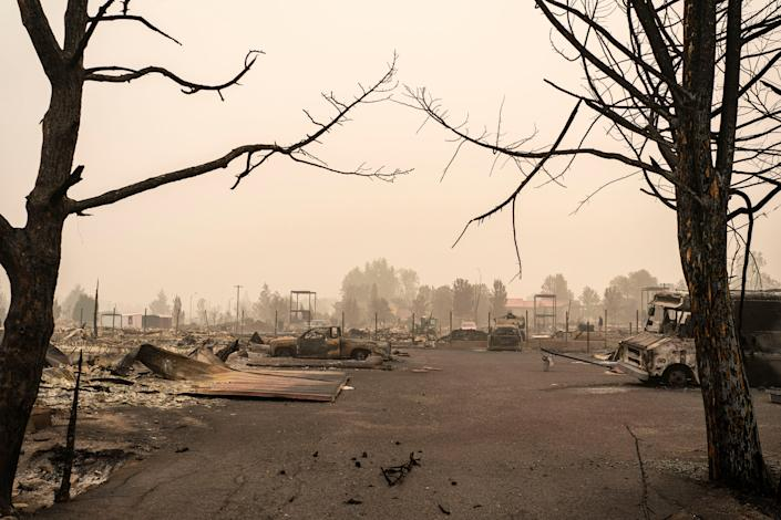 A neighborhood destroyed by wildfire is seen on September 13, 2020 in Talent, Oregon. Hundreds of homes in Talent and nearby towns have been lost.