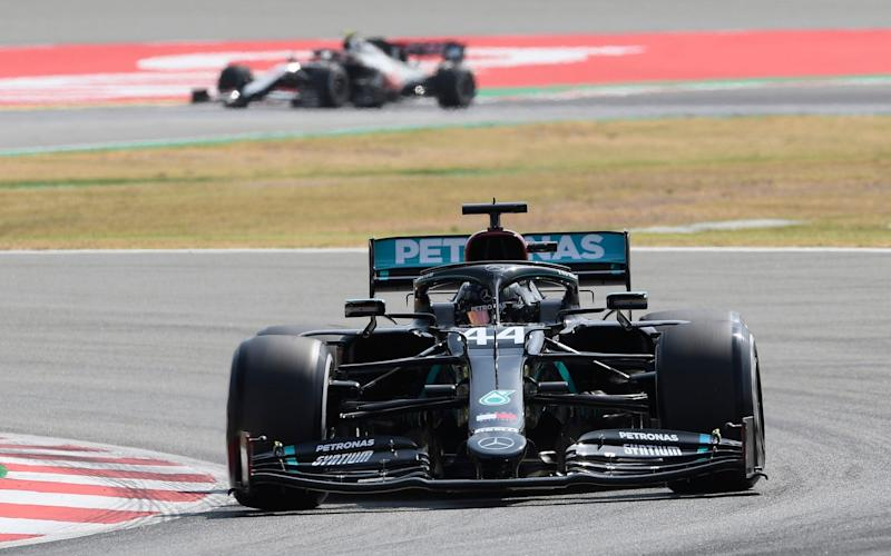 Mercedes driver Lewis Hamilton of Britain steers his car during a practice session prior to the Formula One Grand Prix at the Barcelona Catalunya racetrack in Montmelo, Spain, Friday, Aug. 14, 2020 - Pool AFP