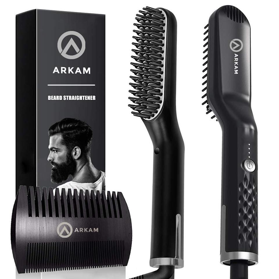 """<h2>Arkam Premium Beard Straightener</h2><br>""""No, I do not have a beard — but, I do have a partner with a beard and I am sharing this under-$100 MVP on his behalf. If you have any bearded persons in your life, I'd highly recommend buying them this unusual gadget. It's less of an actual straightener (a straightened beard sounds like something I would not want to see) and more of a smoothing mechanism for all the long, wild, unruly, or tangle-prone beard hairs out there! After watching him work it through a few times, I'd liken it to a portable steamer meets Revlon hot brush for your face — his beard looks noticeably polished after brushing it through just a few times. I know, it's gimmicky sounding. But this thing is fast, easy, and actually works. If you don't want to take my word for it, then just check out the Amazon reviews."""" <em>– Elizabeth Buxton, Market Editor</em> <br><br><em>Shop <strong><a href=""""https://amzn.to/3rqiHOs"""" rel=""""nofollow noopener"""" target=""""_blank"""" data-ylk=""""slk:Amazon"""" class=""""link rapid-noclick-resp"""">Amazon</a></strong></em><br><br><strong>Arkam</strong> Premium Beard Straightener for Men, $, available at <a href=""""https://amzn.to/36R4RNo"""" rel=""""nofollow noopener"""" target=""""_blank"""" data-ylk=""""slk:Amazon"""" class=""""link rapid-noclick-resp"""">Amazon</a>"""