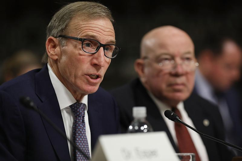 Joseph Kernan (L) and Guy Roberts testify before the Senate Armed Services Committee during their confirmation hearing for positions in the Department of Defense in the Dirksen Senate Office Building on Capitol Hill November 2, 2017 in Washington, DC. Nominated by President Donald Trump, the nominees would fill various positions at the Pentagon. (Chip Somodevilla/Getty Images)