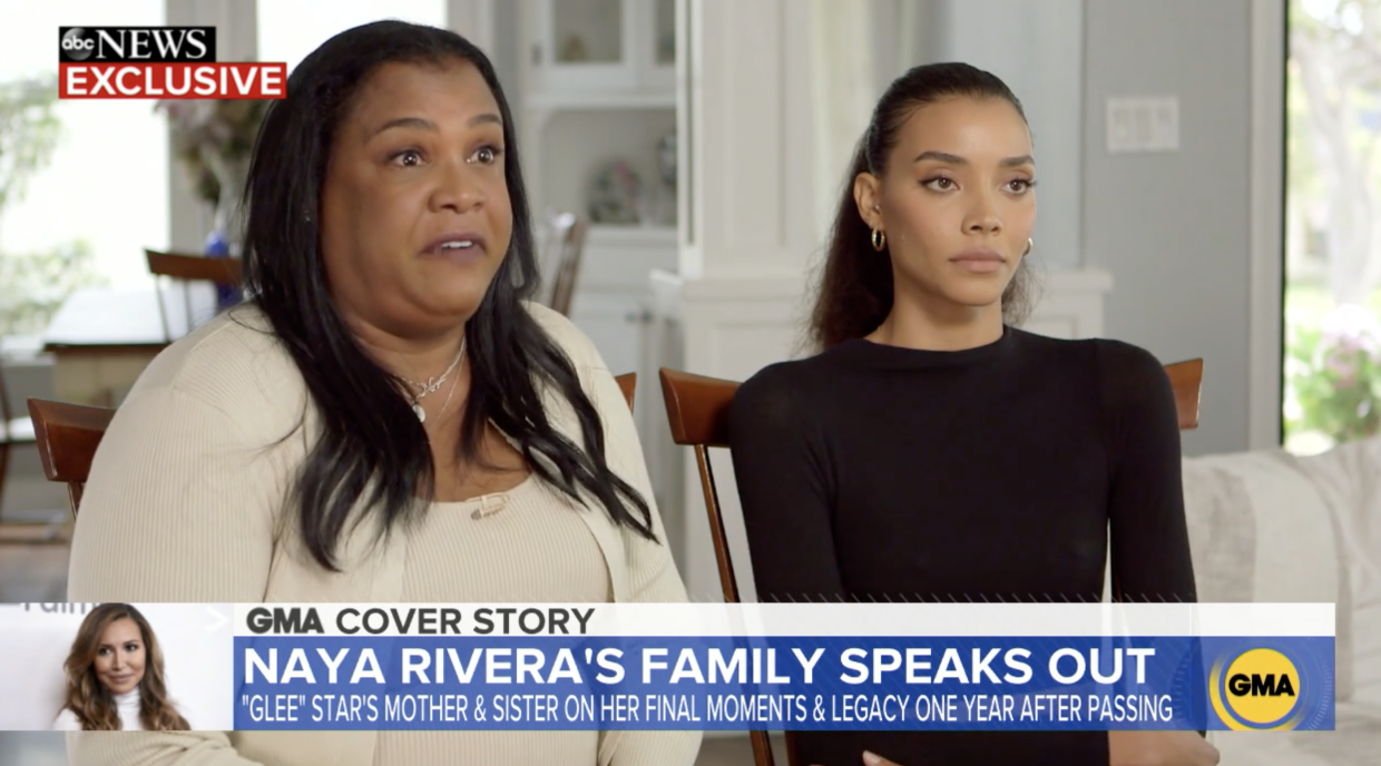 Naya's mother, Yolanda Previtire, and sister, Nickayla Rivera, appeared on Good Morning America in an interview airing on the one-year anniversary of the Glee star's drowning death. (Screenshot: Good Morning America/NBC)