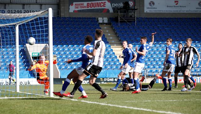 "Soccer Football - League Two - Chesterfield vs Notts County - Proact Stadium, Chesterfield, Britain - March 25, 2018 Notts County's Dan Jones (not pictured) scores his sides first goal Action Images/Craig Brough EDITORIAL USE ONLY. No use with unauthorized audio, video, data, fixture lists, club/league logos or ""live"" services. Online in-match use limited to 75 images, no video emulation. No use in betting, games or single club/league/player publications. Please contact your account representative for further details."