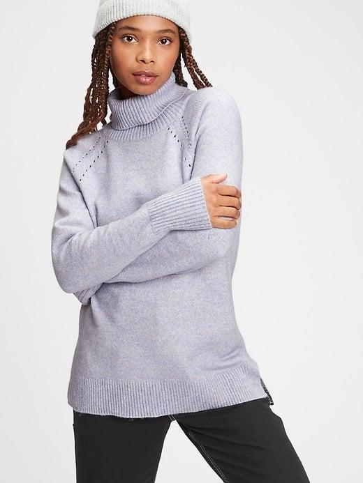 <p>This <span>Gap Supersoft Brushed Turtleneck Sweater</span> ($29-$70, originally $70) is loose, lightweight, and (of course) very soft, too.</p>
