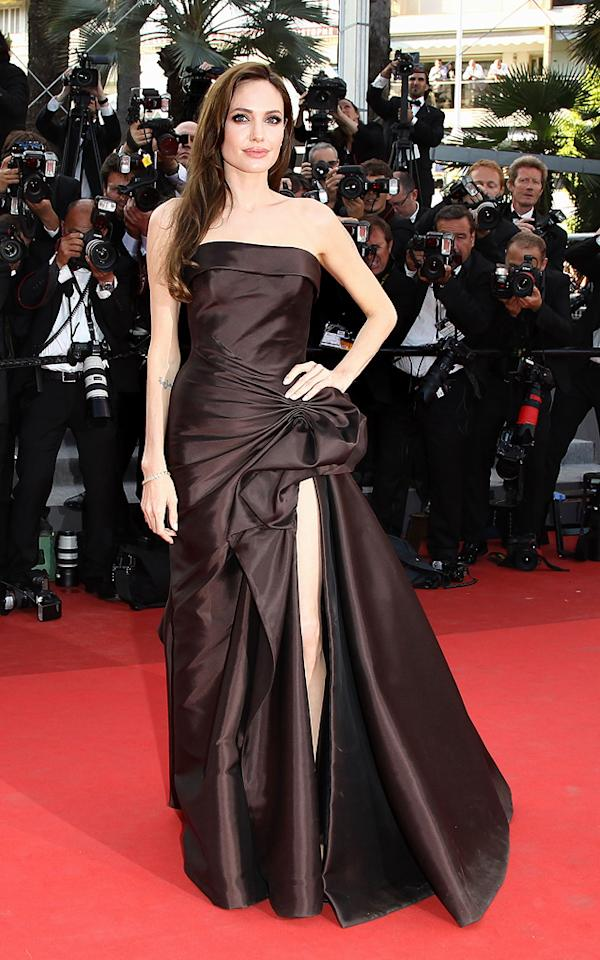 Angelina Jolie's Atelier Versace chocolate dream of a dress is the perfect fit for the 2011 Cannes red carpet.