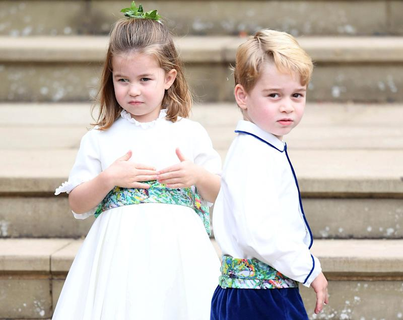 May 2nd, 2019 - Princess Charlotte of Cambridge turns four years old. Princess Charlotte Elizabeth Diana was born on May 2nd 2015 at St. Mary's Hospital in London, England. - File Photo by: zz/KGC-375/STAR MAX/IPx 2018 10/12/18 Princess Charlotte and Prince George at the Wedding of Princess Eugenie of York and Mr. Jack Brooksbank at St George's Chapel, Windsor, Berkshire, UK.