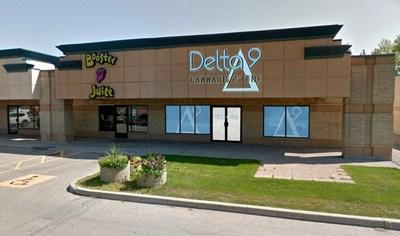 Photo of Delta 9's first cannabis retail store in Winnipeg, with artist rendering of logos and signage. This first outlet is located in the St. Vital area of the city. (CNW Group/Delta 9 Cannabis Inc.)
