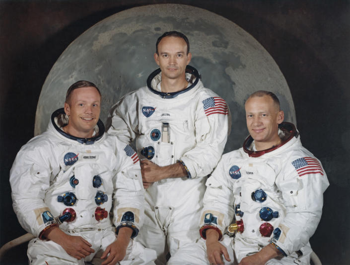 "From left: Astronauts Neil Armstrong, Michael Collins and Edwin ""Buzz"" Aldrin Jr. of NASA's Apollo 11 mission a few weeks before the launch in May 1969. (Photo: Space Frontiers/Getty Images)"