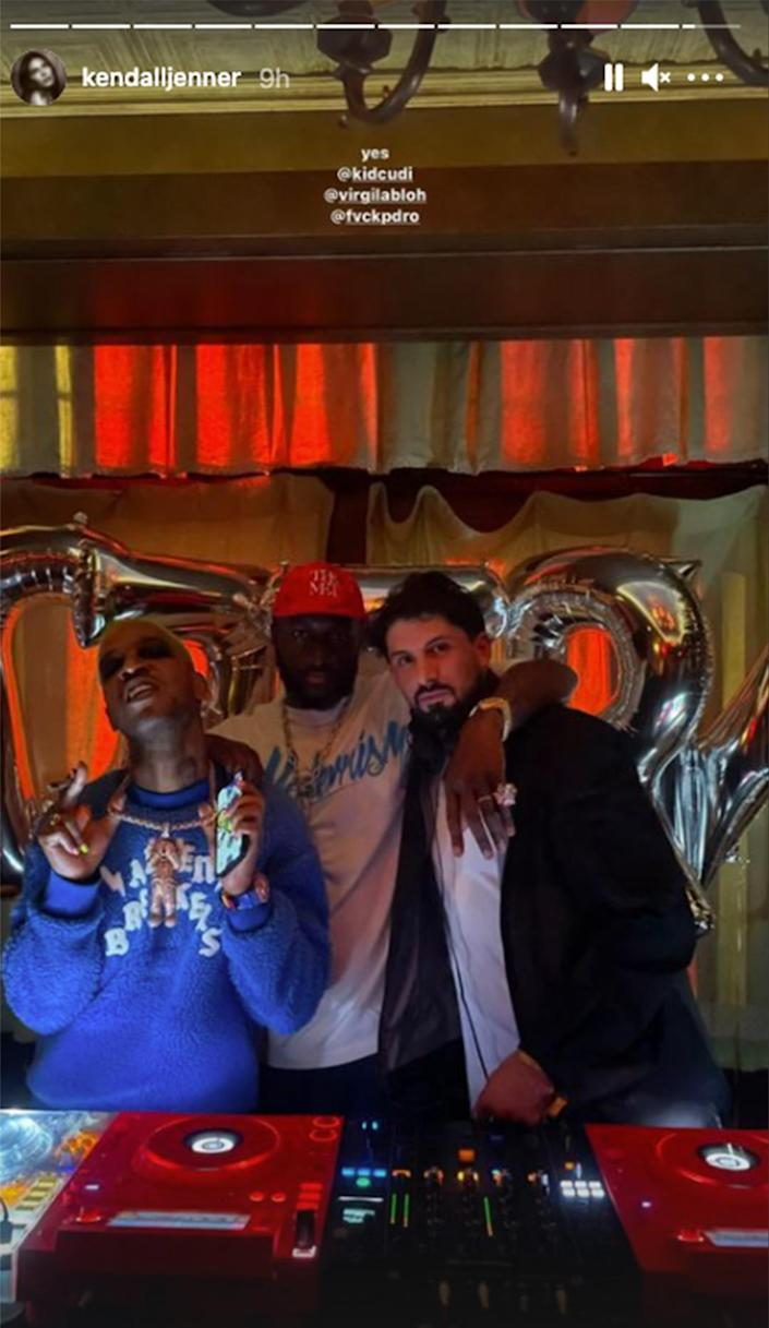 <p>Kendall Jenner was definitely into the tunes from Kid Cudi at one of the many afterparties. </p>