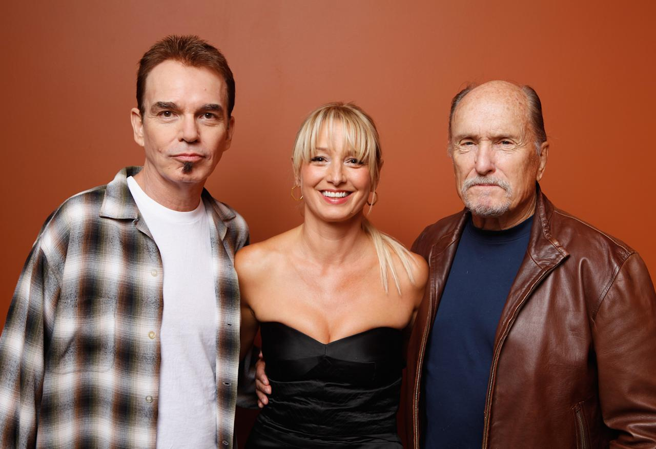 """TORONTO, ON - SEPTEMBER 13:  (L-R) Writer/director/actor Billy Bob Thornton, actress Katherine LaNasa and actor Robert Duvall of """"Jayne Mansfield's Car"""" pose at the Guess Portrait Studio during 2012 Toronto International Film Festival on September 13, 2012 in Toronto, Canada.  (Photo by Matt Carr/Getty Images)"""