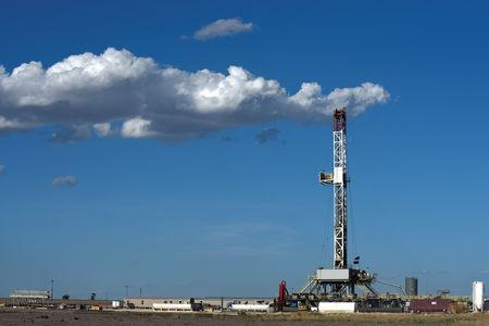 A horizontal drilling rig on a lease owned by Parsley Energy operates in the Permian Basin near Midland