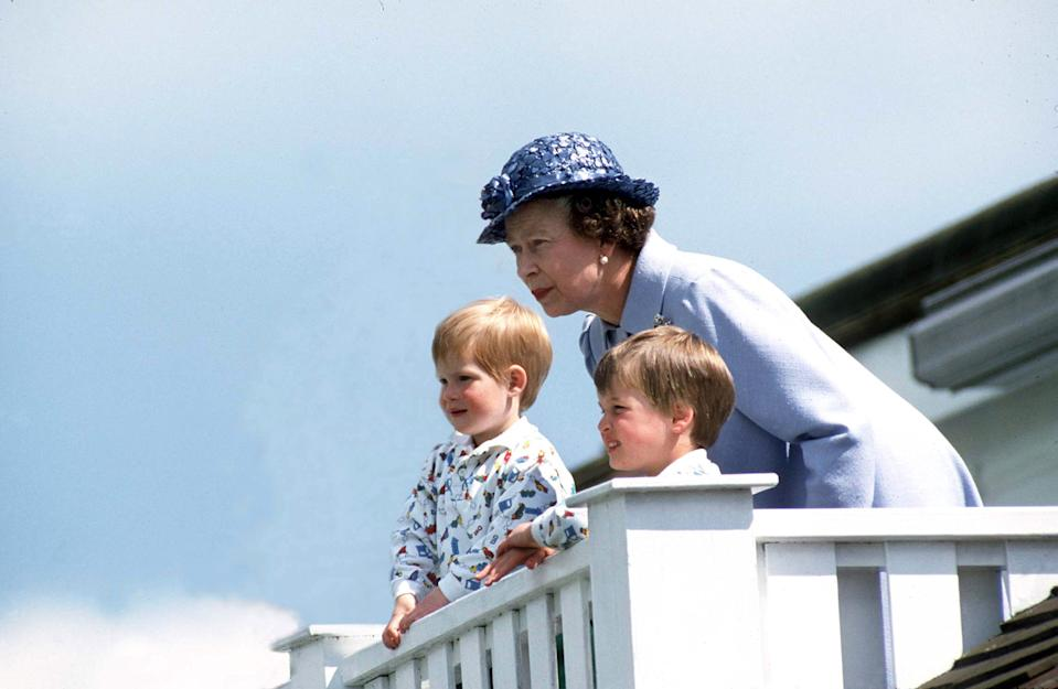 UNITED KINGDOM - JUNE 14:  Queen With Prince William & Prince Henry At Polo  (Photo by Tim Graham Photo Library via Getty Images)
