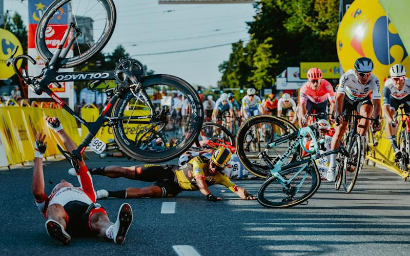 Crash at the end of stage one at the Tour of Poland —  - GETTY IMAGES