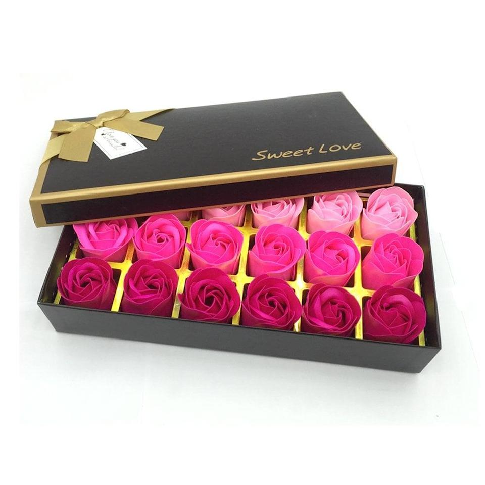 <p>How cool is the <span>Floral Scented Bath Soap Rose Flower Petals Set</span> ($12)?</p>