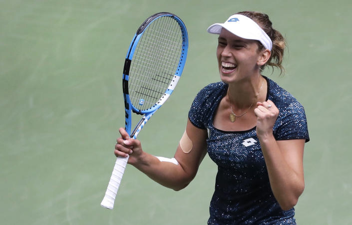 Elise Mertens, of Belgium, reacts after defeating Barbora Strycova, of the Czech Republic, during the third round of the U.S. Open tennis tournament, Friday, Aug. 31, 2018, in New York. (AP Photo/Seth Wenig)