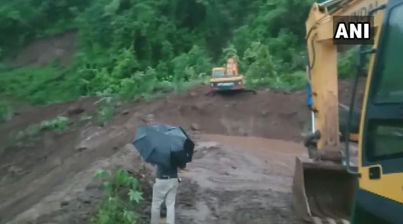 Mumbai-Goa Highway Closed Due to Landslide at Dhamandevi Village in Raigad, Clearing of Debris Work Underway