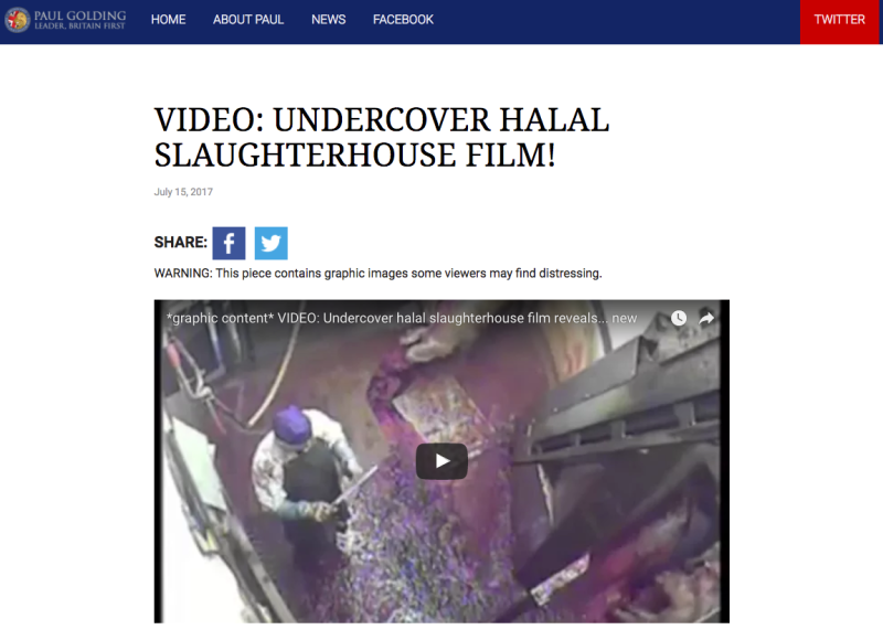<strong>Britain First has been accused of trying to 'incite racial division' after falsely sharing an 'undercover halal slaughterhouse film'.</strong> (Britain First)