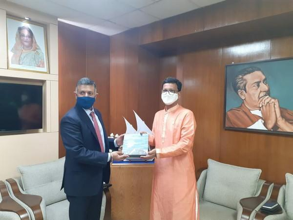 Indian High Commissioner Vikram Doraiswami with Bangladesh Minister of Shipping (MoS), Khalid Mahmud Chowdhury. (Photo credit: Twitter Account of the High Commission of India in Bangladesh)