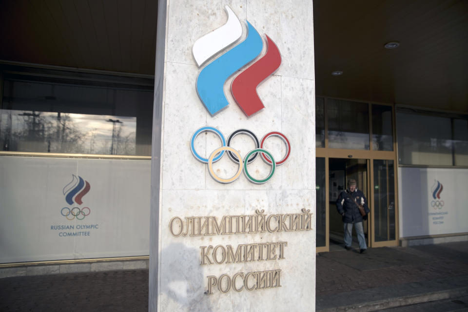 The Russian Olympic Committee emblem will be used at the next two Olympics without any wording. (AP Photo/Pavel Golovkin)