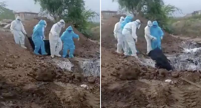 Officials in India's state of Karnataka are filmed throwing the dead bodies of COVID-19 victims, wrapped in garbage bags, down a hole.