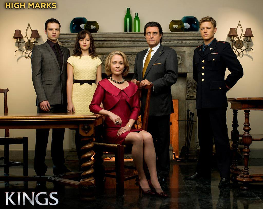 "HIGH MARKS: ""Kings"" may have the best production values on television, and the highest concept: a retelling of the David and Goliath story set in an alternate-reality kingdom ruled by the cagey and controlling King Silas (Ian McShane). The characters are compelling, the cast convincing, and the look exquisite."